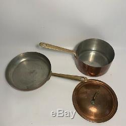 10 Piece Vintage Fantuzzi Batterie De Cuisine En Cuivre Set Pots Casseroles Poignée En Laiton