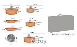 11 Pièces De Cuivre Batterie De Cuisine Pot Soucoupe Casseroles Frire Bâton Non Faitout Soucoupe Pan