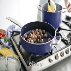 12-piece Céramique Antiadhésive Ustensiles De Cuisine Ensemble Couvercle Pans & Pots Home Kitchen Cooking Blue