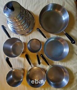 13 Piece Set Revere Ware Inoxydable Cuivre Fond Des Casseroles, Pots Et Couvercles