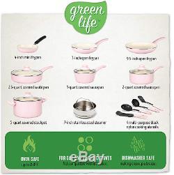 16 Pièces Greenlife Souple Poignée En Céramique Batterie De Cuisine Antiadhésifs