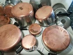 17 Pièces Revere Ware Cuivre Clad Set Marmites Poêles Skillets Couvercles G6