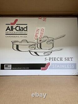 $635 Nib All-clad Set 401599 D3 5-piece Cookware Set
