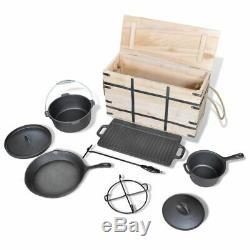 9 Piece Faitout Pan Set Fonte Batterie De Cuisine Cuisine Pot Outdooor Camping