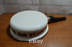 9 Piece Vintage Enamel Batterie De Cuisine Steamer 70 Pot Design Brown Fleurs Jaunes Ensemble