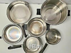 Acier Inoxydable Vintage Saladmaster 18-8 Tri-clad Batterie De Cuisine-13 Pièces-vapolid
