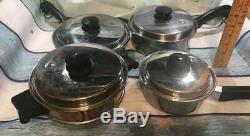 Acier Inoxydable Vintage Saladmaster T304s 8 Piece Cookware Set 4 Pots Avec Couvercles