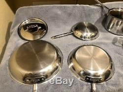 All-clad 12 Piece Pc 5 Cuivre De Base En Acier Inoxydable Poli Cookware Set Utilisé