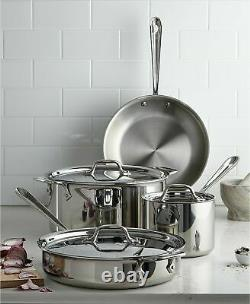 All-clad 7 Pieces Stainless Steel 18/10 7-pc. Cookware Set Flambant Neuf