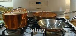 All-clad Copper 7 Piece Cookware Set Acier Inoxydable Fabriqué À La Main 4qt 3qt Vgc