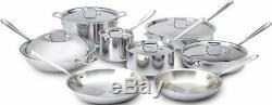 All-clad D3 401716 Tri-ply Bonded Batterie De Cuisine En Acier Inoxydable Set, 14 Pièces, Argent
