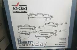 All-clad D3 Compact En Acier Inoxydable Batterie De Cuisine 10 Pièces. Nouveau Etanche Box