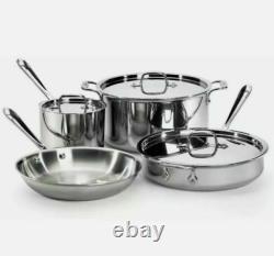 All-clad En Acier Inoxydable D3 (trois Épaisseurs) 7 Piece Cookware Set Tout Neuf! Scellé