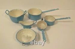 Antique Child's Blue Enamelware / Graniteware 6-piece Cookware Set