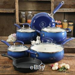 Batterie De Cuisine 10 Pièces Antiadhésive De The Pioneer Woman Avec Poêle, Bleu Cobalt Nouveau
