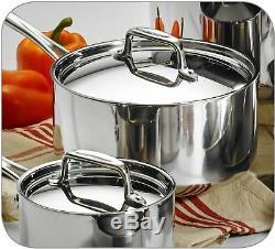 Batterie De Cuisine 10 Pièces En Acier Inoxydable Tri-ply Clad Cuisine Poêle Four Coffre