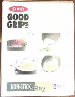 Batterie De Cuisine 12 Pièces Antiadhésive Pro Anodisée Avec Bonnes Ancrages Oxo Good Grips Nouveau