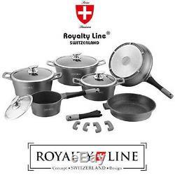 Batterie De Cuisine 14 Pièces Avec Revêtement En Marbre Royalty Line Grey