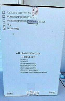 Batterie De Cuisine 15 Pièces À Noyau En Cuivre Plaqué À 5 Épaisseurs Williams Sonoma 600877 Ss Nib