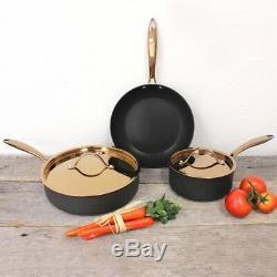 Batterie De Cuisine 5 Pièces Antiadhésives Au Lave-vaisselle Noir Et Or Rose Avec Couvercles