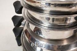Batterie De Cuisine 7 Pièces Sans Eau Carico Ultra Tech Nice T304ss Steel! E & H Gratuit