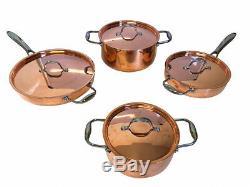 Batterie De Cuisine 8 Pièces En Cuivre Le Chef Avec Couvercle En Cuivre, 5 Pièces