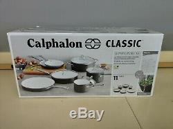 Batterie De Cuisine Antiadhésive En Céramique 11 Pièces Calphalon Classic, Gris / Blanc Nouveau Dent