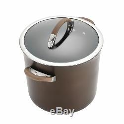 Batterie De Cuisine Antiadhésives Chocolat Dur-anodisée 11 Pièces Symétrie Heavy Duty