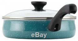 Batterie De Cuisine En Aluminium Antiadhésives Dans Le Golfe 12 Pièces Bleu Chatoiement Terminer Avec Couvercles