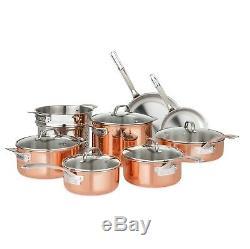 Batterie De Cuisine En Cuivre Triple Épaisseur De 13 Pièces Viking