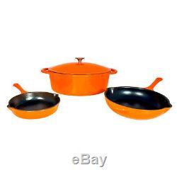 Batterie De Cuisine Le Chef 4 Pièces En Fonte Émaillée Orange. En Soldes