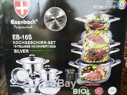 Batterie De Cuisine Professionnelle 16 Pièces De Haute Qualité D'eisenbach, Adaptée À L'halogène