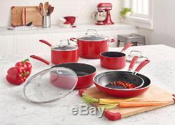 Batterie De Cuisine Rouge 10 Pièces Antiadhésive Kitchenaid En Aluminium Avec Couvercles