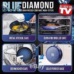 Blue Diamond Pan Cookware Set, 14 Morceaux, Casseroles Antiadhésives En Céramique Sans Toxine, Neuf