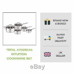 Brand New Tefal A702s54 Intuition Batterie De Cuisine, 5 Pièces En Acier Inoxydable