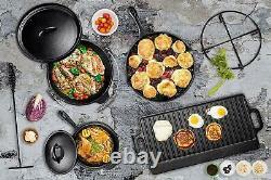 Bruntmor Pre Assaisonné 7 Pièces En Fonte Batterie De Cuisine Casseroles Et Pan Set Avec La Boîte
