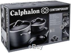 Calphalon Batterie De Cuisine Contemporaine Ensemble Antiadhésifs Pfoa Sans 450f Four Safe 8 Pièces