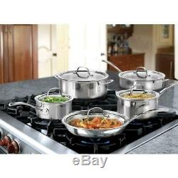 Calphalon Batterie De Cuisine Couvercle Four Broiler Safe Tri-ply En Acier Inoxydable De 10 Pièces