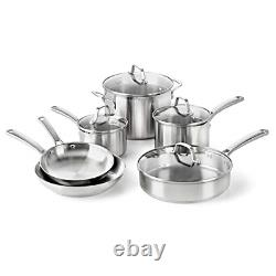Calphalon Classic Pots And Pans Set, Ensemble D'ustensiles De Cuisine De 10 Pièces, Acier Inoxydable