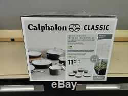 Calphalon Classique 11 Pièces En Céramique Batterie De Cuisine Antiadhésive Gris / Blanc Nouveau Ouvert