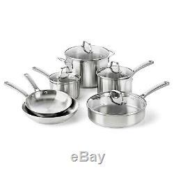Calphalon Classiques Pots Et Casseroles Set, Batterie De Cuisine 10 Pièces, En Acier Inoxydable