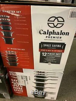 Calphalon Premier 12 Pièces Anodisé Espace Saving Batterie De Cuisine Nouveau