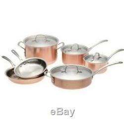 Calphalon T10 Tri-ply Copper & Stainless 10 Piece Cookware Set Nouveau Dans La Boîte