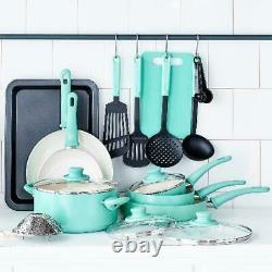 Cookware Set 18 Piece Ceramic Non-stick Kitchen Pots Pans Ustensils Turquoise Nouveau