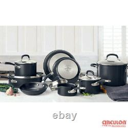 Cookware Set Hard Anodised Induction 13 Piece In Black Saucepan Non Stick Pots