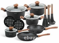 Cookware Set Induction Non Stick Marble Granite 15 Piece Pots Casseroles Couvercles Casserole