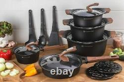 Cookware Set Non Stick Marble Granite 15 Piece Pots Pans Couvercles Saucepan Induction