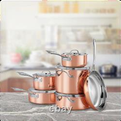 Cuisinart Cuivre Tri-ply Acier Inoxydable 11 Pièces Cookware Set Ctpg-11pc
