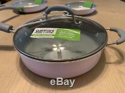 Cuisinart Light Pink Batterie De Cuisine 5 Pièces En Céramique Casseroles Poêlon Avec Couvercles