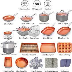 Cuivre Casseroles Et Poêles Set Batterie De Cuisine 23 Antiadhésives Piece Induction Set En Céramique Cuisinier